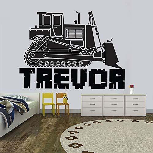 Kjlfow Dormitorio de los niños camión camión Bulldozer camión Pegatinas de Pared niños Bulldozer niños niñas guardería Adolescentes habitación calcomanías 144x108cm
