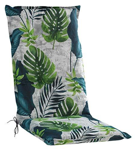 Möbel Jack Sesselauflage Sitzpolster Gartenstuhlauflage für Hochlehner | 50 cm x 120 cm | Blattmotiv | Baumwolle | Polyester