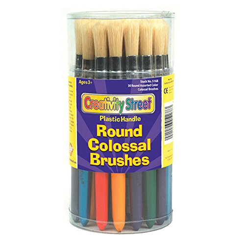 Creativity Street 5168 Colossal Brush, Natural Bristle, Round (Set of 30)