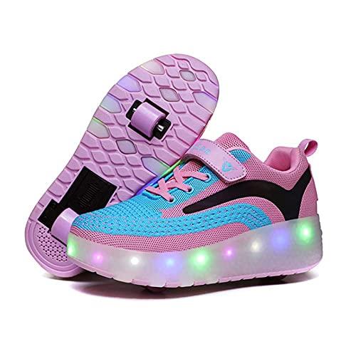AMXSML Zapatillas con ruedas LED para niños, jóvenes, niñas, con ruedas dobles, carga USB, 7 colores cambiantes, zapatos de skateboarding, para deportes al aire libre, color rosa, 28 EU