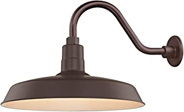 Recesso Lighting Bronze Farmhouse Style Industrial Gooseneck Outdoor Barn Light with 18 Inch Shade for Wet and Damp Locations