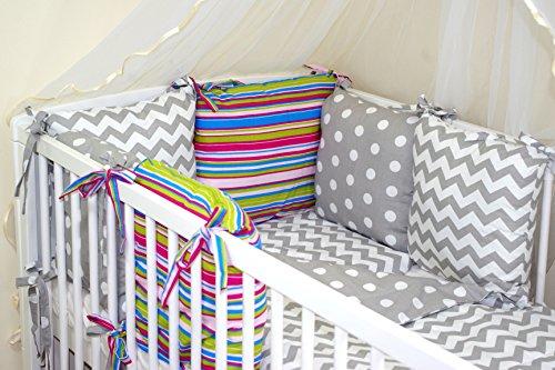 Parure de lit bébé ENSEMBLE DE 10 PIÈCES avec Tour de lit 6 coussins (27 couleurs) (27)