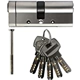 SEPOX 40/40 Euro Door Lock Cylinder with 5 Keys Anti Snap Standard 6-Pin Security Euro Profile Nickel Plated Barrel Door Lock 80mm