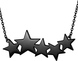 beautlace Five Stars Necklaces 18K Gold/Silver/Black Gun Plated Five Stars Charm Choker Minimalist Pendant Necklaces Jewel...