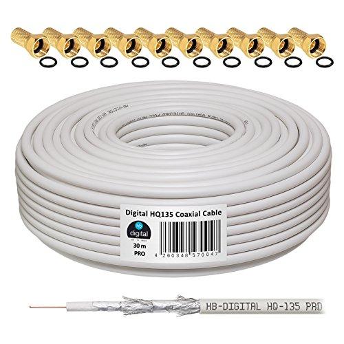 135dB 30m Koaxial SAT Kabel HQ-135 PRO 4-Fach geschirmt für DVB-S / S2 DVB-C und DVB-T BK Anlagen + 10 vergoldete F-Stecker Set Gratis dazu