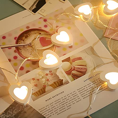 Mtawou - Cadena de luces decorativa, día de San Valentín, forma de corazón, color blanco, luces decorativas, luces de forma de amor, madera, para el día de San Valentín, fiestas, celebraciones