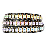 BTF-LIGHTING WS2813 (Upgraded WS2812B) 3.2ft 144 Pixels Magic Dream Color Individually Addressable RGB LED Flexible Strip Light 5050 SMD Dual Signal Wires IP30 Not Waterproof DC 5V Black PCB