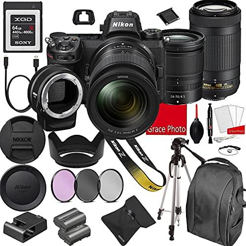 Nikon Z6 Mirrorless Digital Camera 24.5MP + Nikkor Z 24-70mm f/4 S & AF-P 70-300mm F/4.5-6.3 ED VR Lenses + 64GB G...