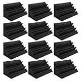Bekith 12 Pack Acoustic Foam Bass Trap Studio Foam, SoundProof Padding Panels Noise Dampening Wall Corner Block Finish for Studios Home and Theater, 12' X 7' X 7'