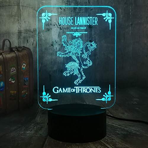 House Lannister 3D LED Night Light Una canzone di ghiaccio e fuoco Lampada da tavolo Decor camera da letto Ventilatori Ragazzo giocattolo Regalo di Natale