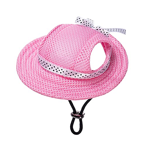 MaruPet Round Brim Princess Cap Visor Hat Pet Dog Mesh Porous Sun Cap with Ear Holes for Small, Extra Small Dog Teddy, Pug, Chihuahua, Shih Tzu, Yorkshire Terriers, Papillon Pink S