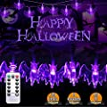 Halloween-Light-String, Eight Modes&Remote Control Function Outdoor Halloween bat Lights, Battery-Powered IP65 Waterproof bat String Lights, Perfect for Decorating Indoors or Outdoors