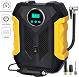 Aibeau Tyre Inflator Pump, Electric 12V 150PSI Air Compressor Tire Inflator Rapid Car Tyre Inflator Air Pump, 3 Nozzle Adaptors and Digital LED Light for Car Tires
