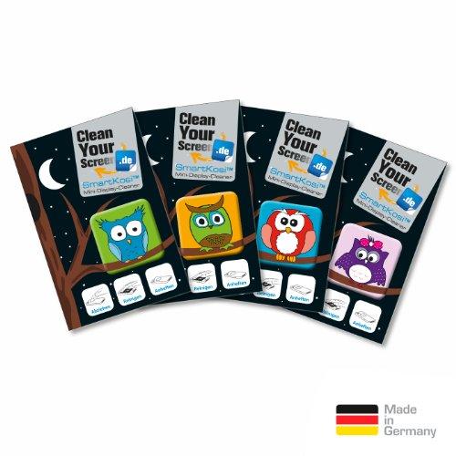 CleanYourScreen 4er Eulen-Set selbsthaftende Display-Reinigungspads (Microfaserpad, SmartKosi, Mini-Display-Cleaner) für Smartphone, Tablets, iPhone, uvm.