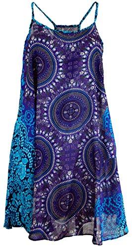 Guru-Shop Boho Dashiki Minikleid, Trägerkleid, Strandkleid, Tank Top, Damen, Flieder/türkis, Synthetisch, Size:38, Kurze Kleider Alternative Bekleidung