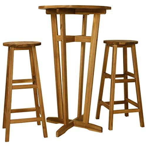 Festnight Conjunto de Muebles de Bar Conjunto de Mesa y Sillas Comedor 3 Piezas Madera Maciza de Acacia