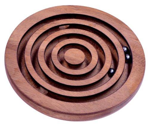 LOGOPLAY Kugel Labyrinth - Geschicklichkeitsspiel - Denkspiel - Knobelspiel - Geduldspiel aus Holz