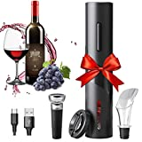 HSTD Amdo Cavatappi Senza Filo, Apribottiglie Vino Elettrico Set Micro USB, Taglia Foglio, Tappi per Vino, Versatore, San Valentino festa della Mamma Regalo di Compleanno per lanniversario