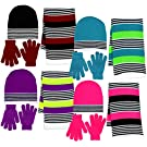 Girls 3 Piece Knit Hat, Scarf & Gloves Set in 4 Colors a Winter Accessories for Girls