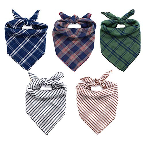 WanKoo Dog Bandanas 5 Pack, Reversible Plaid Printing Dog Scarf Boy and Girl Dogs Handkerchief...