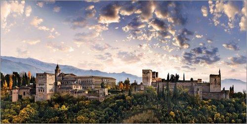 Posterlounge Lienzo 40 x 20 cm: Alhambra in Granada de Michael Rucker - Cuadro Terminado, Cuadro sobre Bastidor, lámina terminada sobre Lienzo auténtico, impresión en Lienzo