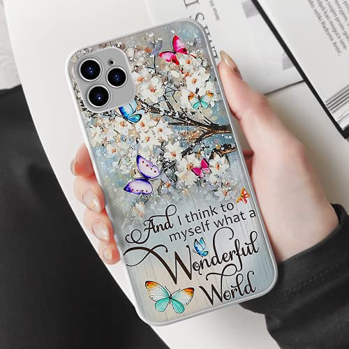 Beautiful White Flowers & Butterflies What A Wonderful World Phone Case iPhone iPhone 12 Mini/12 Pro/12 Pro Max/iPhone 11/11 Pro/11 Pro Max/x/xs/xr, Shockproof Anti-Scratch Case