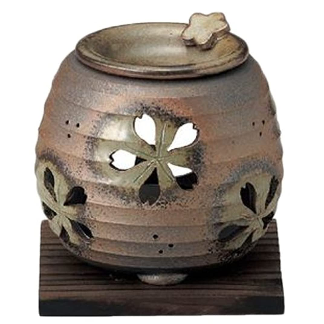 やりすぎ意外皮肉常滑焼6-249石龍 緑灰釉桜透かし茶香炉 AM-T1205