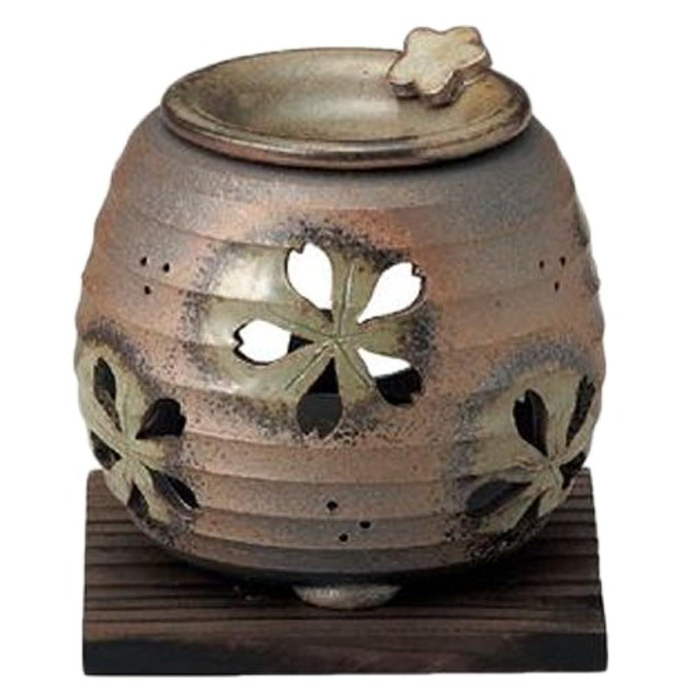 なめる冒険擬人化常滑焼6-249石龍 緑灰釉桜透かし茶香炉 AM-T1205