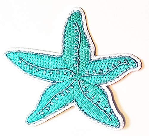 Nipitshop Patches Blue Starfish Sea Life Fashion Cartoon Children Kid Patch Clothes Bag T-Shirt Jeans Biker Badge Applique Iron on Sew On Patch