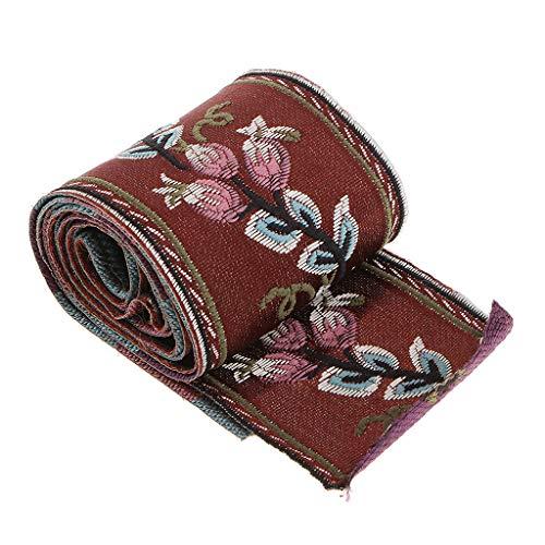 SM SunniMix 5m Webband Borte Zierband Rose Rot Jacquard Stoffband Ethnisch Stoffbordüre für Kleidung, Kissen, Vorhang - 60x5000mm