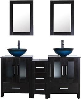 60 Black Bathroom Vanity Cabinet And Sink Combo Double Top Wood Texture W Mirror