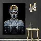 N / A Arte Africano Negro y Oro Mujer Lienzo Pintura Cartel y Sala decoración Pintura Mural sin Marco 60x90cm