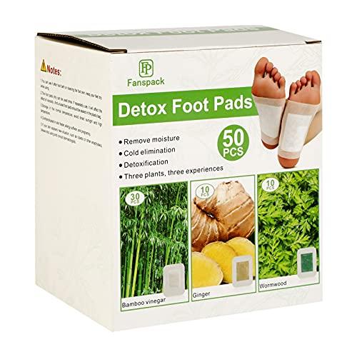 Fanspack Detox Pflaster-Detox Fußpflaster 50PC Bambus,Ingwer,Wermut Detox Pflaster Füsse Entgiftungspflaster Füße Detox Fußpflaster Entgiften Detox Foot Patch, Fusspflaster zum Entgifteng