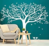 Large Tree Wall Decor Family Photo Tree Wall Sticker Vinyl Mural Art Tree Wall Decals for Living Room Bedroom Nursery Decor (White)