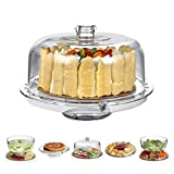 HBlife Acrylic Cake Stand Multifunctional Serving Platter and Cake Plate With Dome (6 Uses...
