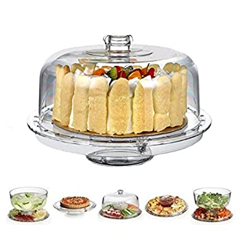 HBlife Acrylic Cake Stand Multifunctional Serving Platter and Cake Plate With Dome  6 Uses