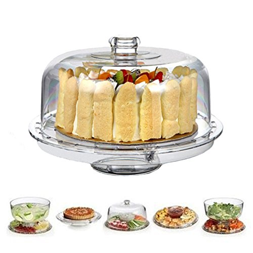 HBlife Acrylic Cake Stand Multifunctional Serving Platter and Cake Plate With Dome...