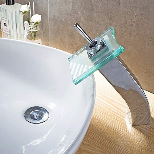 AXWT Moderno baño grifo cascada lavabo bomba de calor grifos del hotel Bellas grifo de cobre grifos de cristal cascada de agua mezclada en agua del grifo