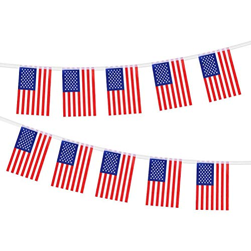 """TDHDIKE 100 PCS(99 FT) American Flag Banner String, American Pennant Flag Banners Nylon Fabric Decorations for Grand Opening, Party, Olympics, Bar, Sports Clubs or Restaurants(8.2""""x5.5"""")"""