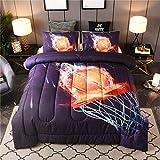 Btargot Basketball Fire Comforter Sets Twin for Boys Teens,3D Sports Basketball Bedding,Soft Microfiber Reversible Quilt with 2 Matching Pillow Shams