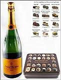 Champagner Veuve Clicquot Brut Yellow Label mit 12 erlesenen Trüffel & Pralinen aus der Confiserie Rabbel in Geschenkdose, kostenloser Versand