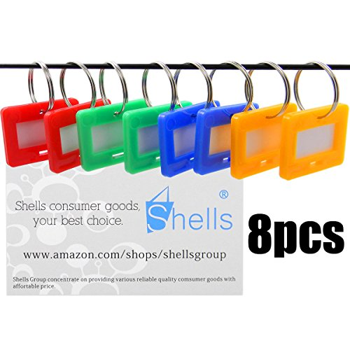 Shells 8PCS Assorted Color Key ID Label Tags Key Ring Holder Tags Key Chain With Write-on Label Window