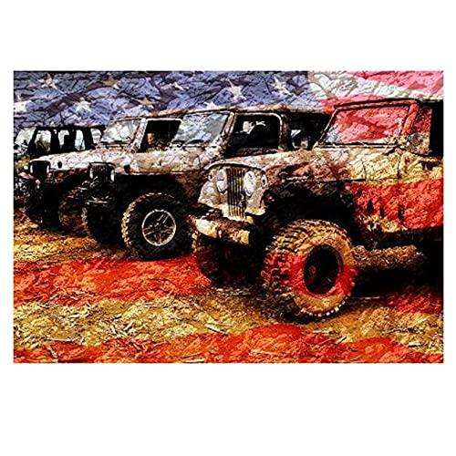 Wonner Diy 5d Diamant Malerei Jeep Auto Amerikanische Flagge Voller Quadrat R&e Kreuzstich Kits Kunst Hohe Qualität Szene 50x75cm NoFramed