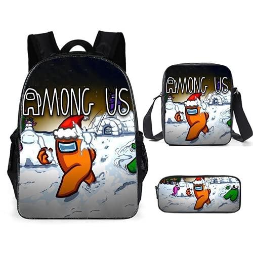 LIJUNQI Among us - Juego de 3 mochilas escolares para niños y niñas, mochilas de viaje para ordenador portátil y libro, estilo informal (AmongUs 4)