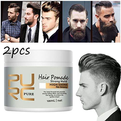 Tuttavia 2 Stück Retro Styling Haaröl - Neue Ankunft PURC-Haar-Pomade-starke Art, die Pomade-Haar-Wachshaar-Öl-Schlamm wieder herstellt