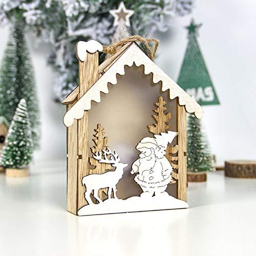 ZXXFR Weihnachten Deko Anhänger,White Party Zubehör Led Leuchten Weihnachtsverzierungen Kleines Holzhaus Anhänger Home Leuchtenden Weihnachtsschmuck Festival