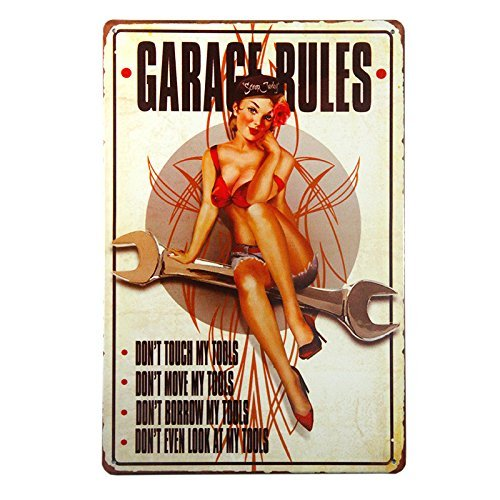 ERLOOD Garage Rules Sign Pin Up Girl Retro Vintage Decor Metal Tin Sign Great Tool for The Garage