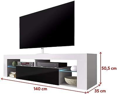 Selsey Meuble TV Bas, Matériau en Bois, Blanc Mat/Noir Brillant, mit LED