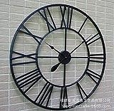 Luosheng Reloj de Pared Retro Europeo, Reloj de Pared Negro Romano de Metal, Reloj de Pared Romano Antiguo Creativo para Colgar en la Pared-Negro_Los 80x80x5cm