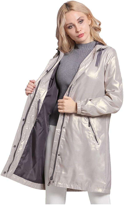 BiBOONES Autumn Hooded Windbreaker Adjustable Waist Ladies Slim Coat